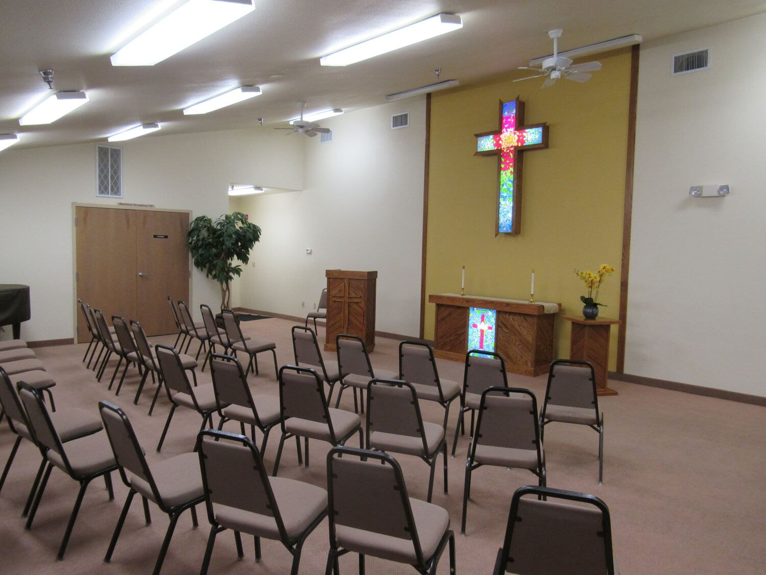 The chapel for Monday night worship